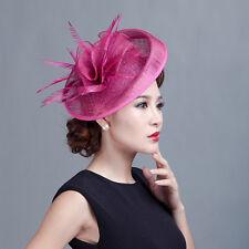Sinamay Wedding Church Large Hat Fascinator Feather Hair Band Headband Hatinator