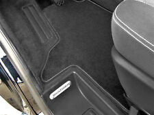 Fußmatte VW T4 Schaltgetriebe 2xEinzelsitz Hochflor-Velours Anthrazit Rand BLAU