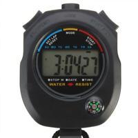 Digital Handheld Sports Stopwatch Stop Watch Timer Black O9I5 Alarm U2G7 B3D0