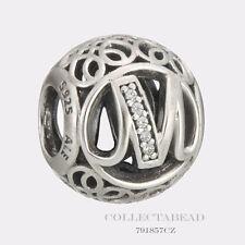 Authentic Pandora Sterling Silver Vintage M Clear CZ Bead 791857CZ