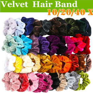 20/40PCS  Velvet Elastic Hair Bands Scrunchies Scrunchy Women Girls 40Color Pack