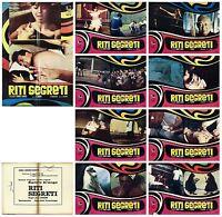 RITI SEGRETI SET FOTOBUSTE COMPLETO 8+1 SOGG. CINEMA MONDO MOVIE 1974 LOBBY CARD
