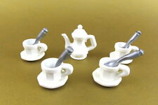 PLAYMOBIL~5316~5320~Victorian~Dining Room~Dishes~Tea Pot~ 4 Cups~Saucers~Spoons