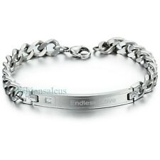 "Stainless Steel Cuban Curb Chain ""Endless Love"" Unisex Couple's Bracelet Promise"