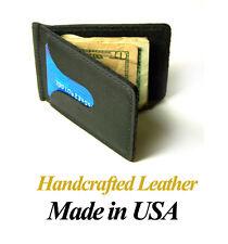 Handcrafted Cowhide Black Leather Front & Back Pocket Bi-fold Money Clip Wallet