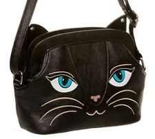 Banned Apparel KITTY CAT FACE orecchie Borsa A Tracolla Borsetta con Campana Piccola