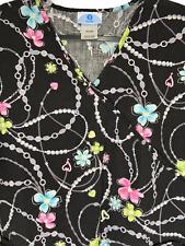 Sb Scrubs Black Scrub Top Plus Size 2X Pearls Jewels Floral Short Sleeves #044