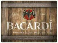 A3 Retro Tin Metal Embossed Sign BACARDI RUM Wooden Barrel 30x40cm NOSTALGIC ART