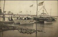 Plattsburgh Plattsburg NY Boats Docks Dr. Marnes Real Photo Postcard #1
