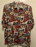 EUC Reyn Spooner Beach Boys Surfer Girl Eddy Y Hawaiian Floral Aloha Shirt L