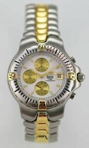 Dumont Delie Hombre Reloj Cromado Plata Oro Acero Inoxidable Fecha 100m Blanco
