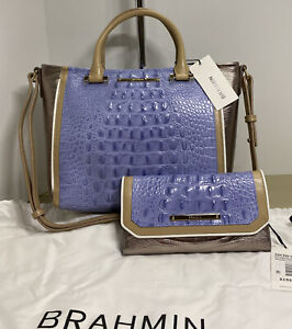 BRAHMIN MINI ARNO TOTE & CHECKBOOK WALLET PERIWINKLE TRICOLOR NWT!