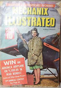 Mechanix Illustrated February 1943 Aviation Inventions Hobbies Fawcett