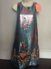 Manoush embroidered and sequins blue gold dress size S
