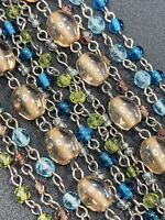 """Vintage Bohemian Glass Beaded Statement Necklace 6 Strand  Pastel Color 20"""""""