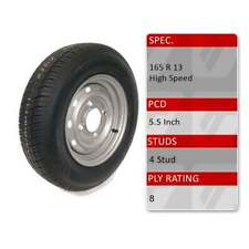 "TRIDENT 165R13C 4 Stud 5.5"" PCD 13"" Inch Caravan Trailer Spare Wheel Tyre 8 Ply"
