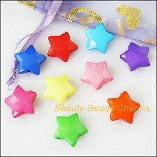 35Pcs Mixed Plastic Acrylic Faceted Star Charms Spacer Beads 15.5mm
