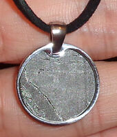 Genuine Meteorite Necklace! Sliced Seymchan Meteorite in Stainless Pendant