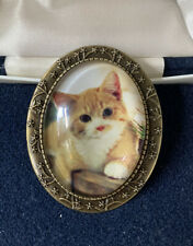Vtg Effect Costume Brooch - Bn Lovely Ginger and White Kitten Large