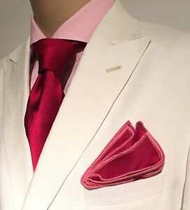 Pocket Square Handmade Berry With Pink Stitched Borders By Squaretrapny.com