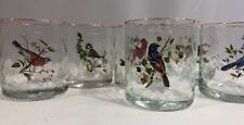 Rare Vintage Orvis Songbird West Virgina Glass Tumbler Set of 6 Cardinal Oriole
