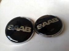 2x Saab Badge 9-3,9-5 Set Boot Back & Bonnet Front Logo Emblem 68mm Black