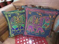 STUNNING 1 X  HANDMADE INDIAN ELEPHANT EMBROIDERED CUSHION COVER 40X40 RRP $15