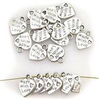 "10/50pcs New Silver Plated Made With Love Heart Charms 0.35"" Pendants Beads"