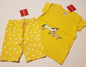 Hanna Andersson girl outit 110 / 5 Yellow shirt unicorn polka dot bike shorts