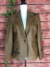 Reba Brown Leather Blazer Jacket Small Studs Crosses Brass Cowgirl Western