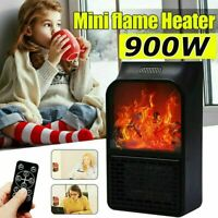 900W Mini Electric Fireplace Space Heater 3D Flame Log Air Warmer Blower