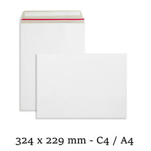 C4 Strong All Board White Rigid Card Peel & Seal A4 Envelopes Free P&P