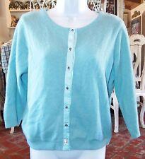 Free People Women's Wool/Angora/Nylon Blend Sweater w/rhinestone buttons SzM Euc