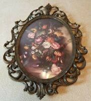 """Vintage Brass Metal Oval Picture Frame Convex Bubble Dome Glass Italy 10"""" x7"""""""