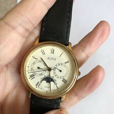 Alfex Swiss Made Moonphase Mens Quartz Watch With Day And Date Sub Dials