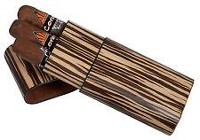 Zebra Wood 3 Finger 60 Ring Gauge Cigar Case Holder
