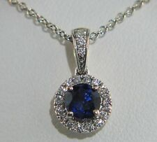 Stunning 14K White Gold Round Sapphire and Diamond Necklace w/ Tiffany Chain