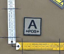 """Ricamata / Embroidered Patch """"Blood type A POS +"""" C. Tan with VELCRO® brand hook"""