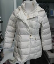 Jessica Simpson Jacket Hooded Puff Vest Coat Off White Cream Gold Small Winter
