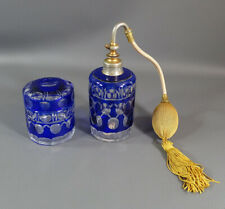 1920 Haida Johann Oertel Cobalt Blue Cut Crystal Glass Perfume Bottle Powder Jar