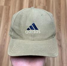 Vintage 90's Adidas Strapback Hat 3 Stripes Logo Tan Khaki Leather