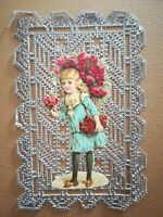 Canivet dentelle Holy Card image pieuse couleur - Jeune fille aux roses