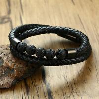 Handmade Men's Black Leather Natural Lava Stone Wristband Bracelet Jewelry Gifts