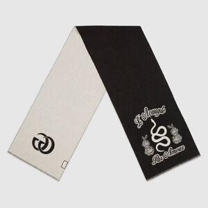 NEW $595 GUCCI Men's/Unisex Charcoal Gray SNAKE Floral L'aveugle Par Amour SCARF