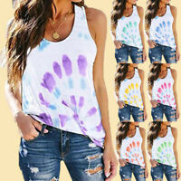 Fashion Womens Casual Tie-dye Printing O-Neck Sleeveless Vest T-Shirt Blouse Top
