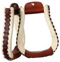 Showman Western Rawhide Pleasure Style Saddle Stirrups W/ Leather Lacing! TACK!