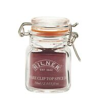 4 x Kilner Square Clip Top Airtight Glass Spice Jars Herb Preserve Jar 70ml NEW