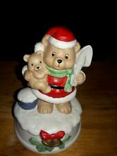 Musical mamma Santa bear holding baby wind up The 1St Noel Music 5.5 In Tall