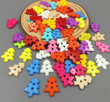 100X Mixed Colors Sewing Scrapbooking Resin Buttons Christmas tree Buttons 18mm