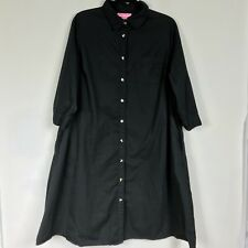 Women Within Shirt Dress Plus Sz 18 Black Two Pockets 3/4 Sleeve 100% Cotton